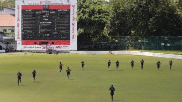 Sri Lanka players train on the second day of their camp