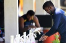 Wanindu Hasaranga washes his hands after a practice session at the Colombo Colts Cricket Stadium, Colombo, June 2, 2020