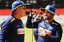 Mickey Arthur and Dimuth Karunaratne during a training session, Colombo, June 2, 2020