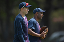 Joe Root chats to England's spin consultant Jeetan Patel, England nets, St George's Park, Port Elizabeth, South Africa, January 13, 2020