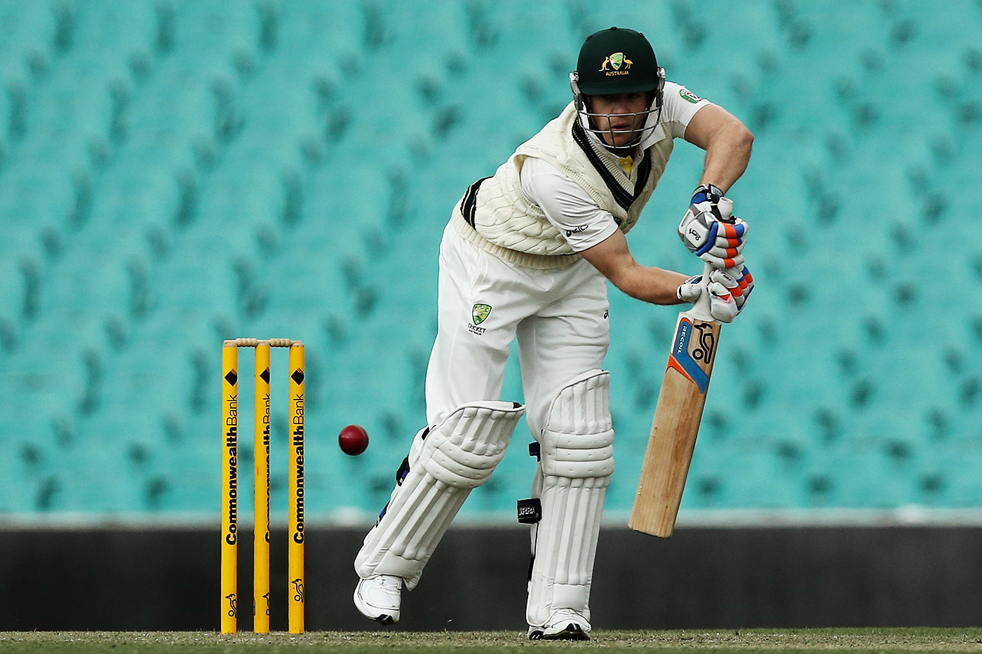 Batting for Australia A in 2012, in a game where he made 60. Note the bottom-handed grip and extra padding around the right index finger