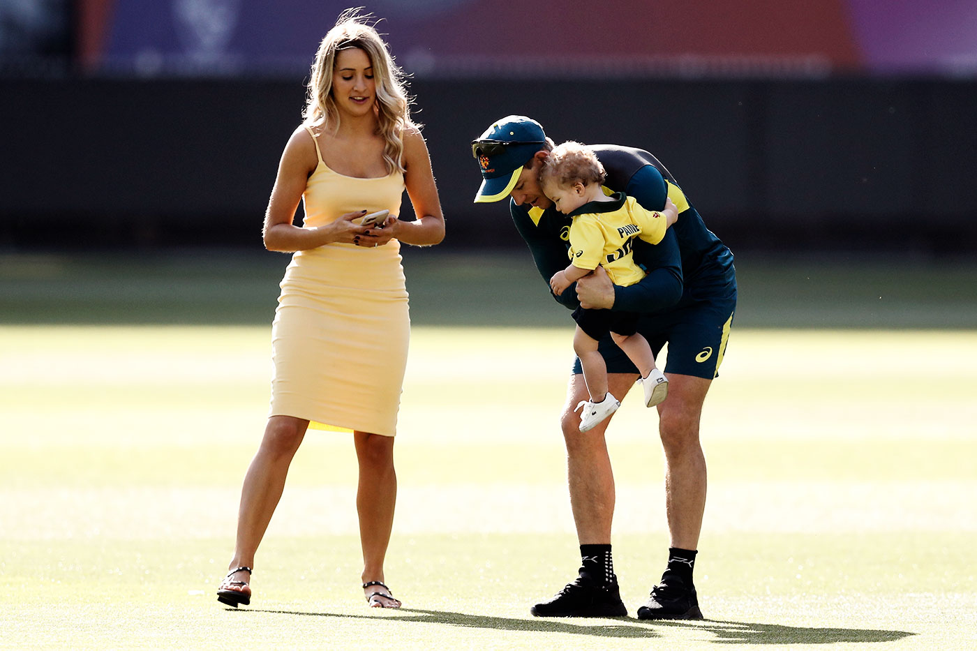 Paine with wife Bonnie and son Charlie at the MCG on Christmas day last year