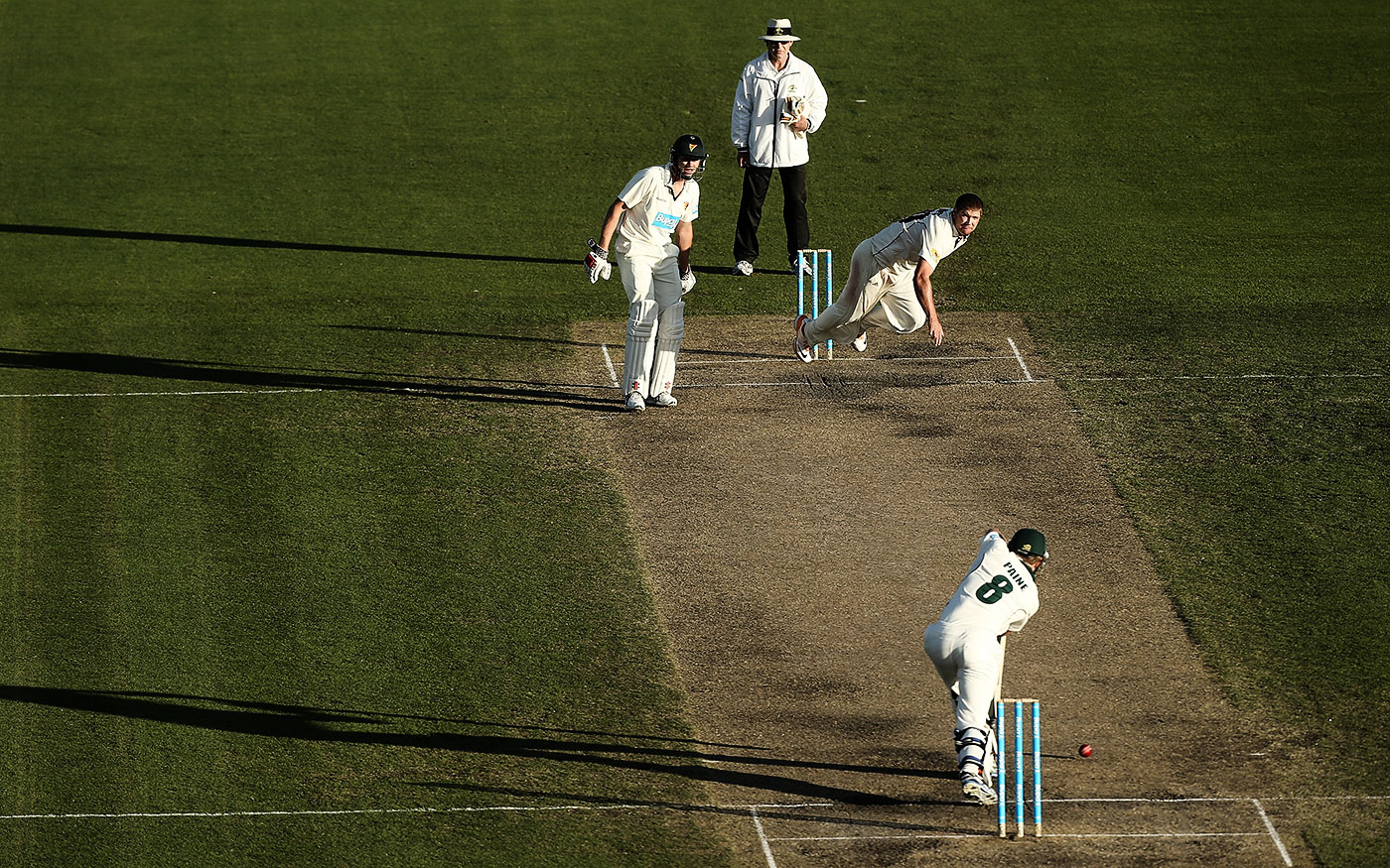 Made in Tassie: Paine in a Shield game against Queensland in 2013. Tasmania moved to snap Paine up early when he was undecided between football and cricket