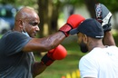 Sanath Jayasuriya practises boxing at a public park, Colombo, June 9, 2020