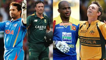 Composite: Sachin Tendulkar, AB de Villiers, Sanath Jayasuriya and Adam Gilchrist