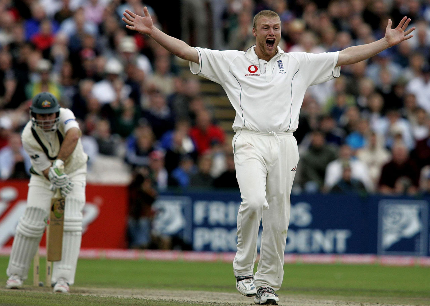 Andrew Flintoff worked Ricky Ponting over at Edgbaston, in the 2005 Ashes
