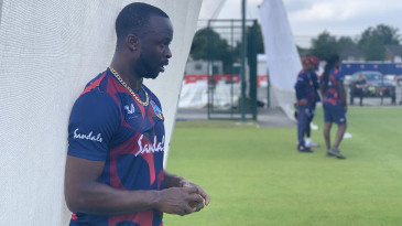 Kemar Roach prepares to bowl in the nets