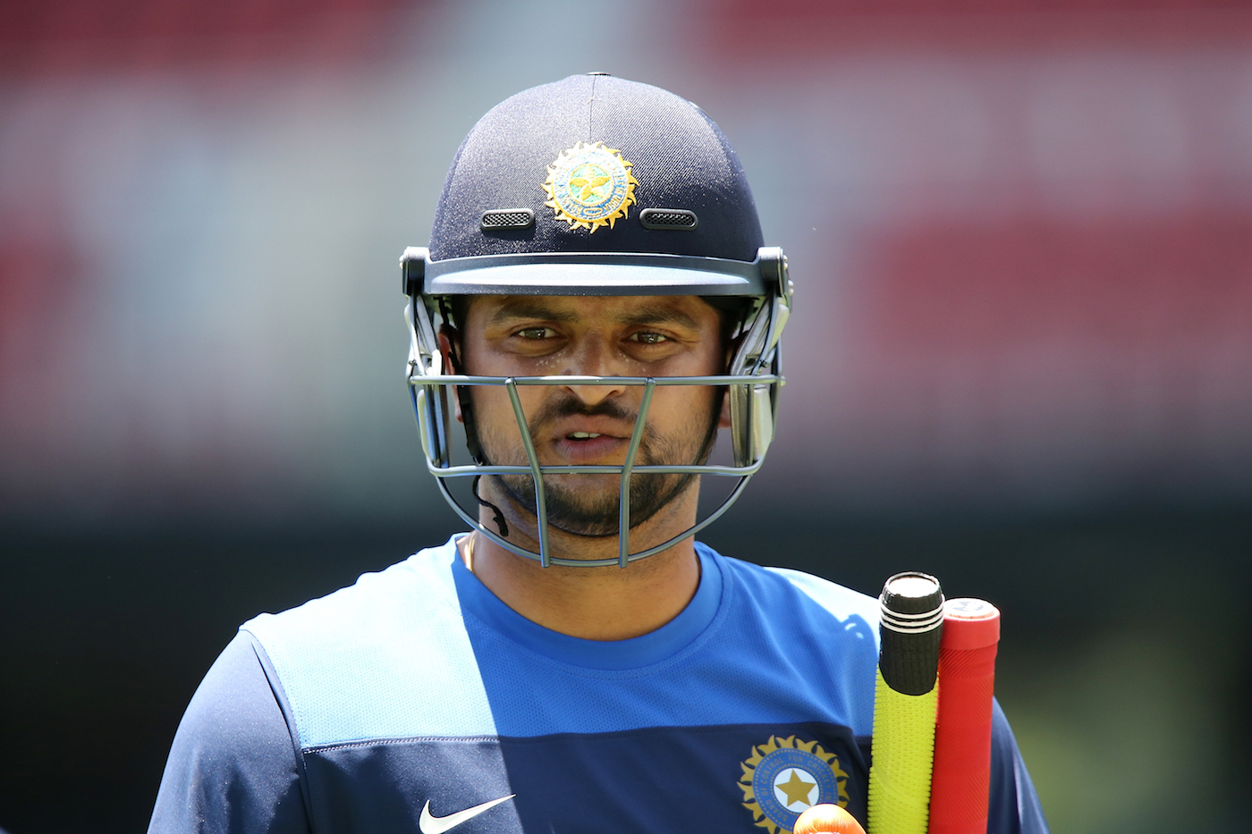 Suresh Raina trains in the nets
