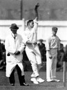 Ted McDonald prepares to deliver the ball, Leicestershire v Australians, Leicester, April 30, 1921