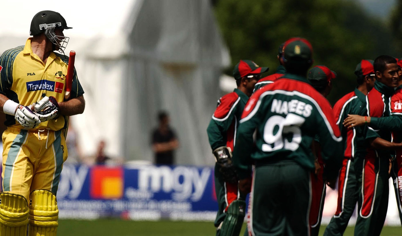 57 for 3: Matthew Hayden was bowled by Nazmul Hossain for 37