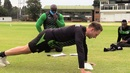 Kyle Jarvis doing push-ups under the watchful eye of fitness trainer Walter Karimanzira, Harare, June 16, 2020