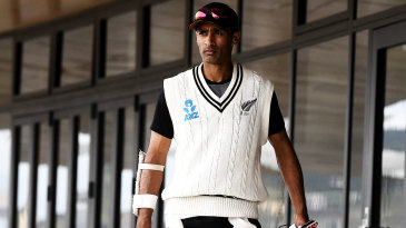 Jeet Raval walks to the nets at Bay Oval
