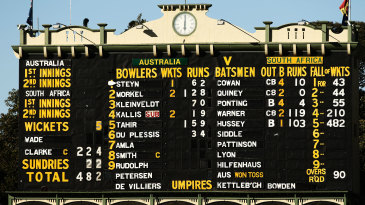 The scoreboard at the end of day one in Adelaide when Australia made 482 for 5