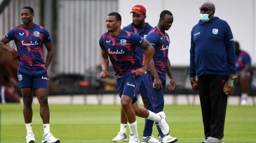 Shannon Gabriel prepares to bowl in the nets