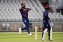 Kyle Mayers bowls during the West Indies intra-squad warm-up match, Old Trafford, Manchester, June 23, 2020