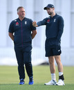 Chris Woakes chats with England's bowling consultant Darren Gough, New Zealand XI v England XI, Cobham Oval, Whangarei, Day 2, November 13, 2019