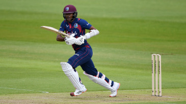 Kraigg Brathwaite sets off for a run en route to a half-century in the intra-squad warm-up
