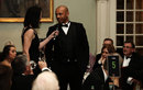Alison Mitchell interviews Tymal Mills during the PCA season launch dinner, Lord's, April 4, 2019