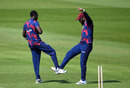 Marquino Mindley celebrates with John Campbell after claiming the wicket of Jermaine Blackwood during day two of the intra-squad warm-up, Old Trafford, Manchester, June 24, 2020