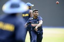 Lakshan Sandakan bowls at a national training camp as lockdown restrictions ease in Sri Lanka, Kandy, June 24, 2020