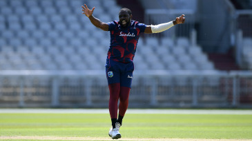 Raymon Reifer appeals succesfully for the wicket of Jason Holder