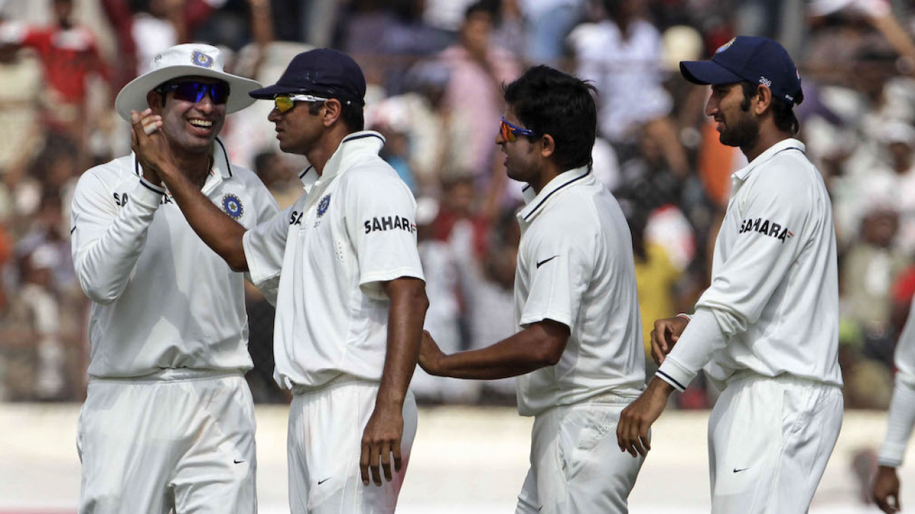 Pujara (second from right) learned not just technique and temperament from Dravid (second from left) but also life lessons at large