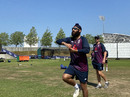Amar Virdi is watched by England's spin coach Richard Dawson at England training, Ageas Bowl, June 26, 2020