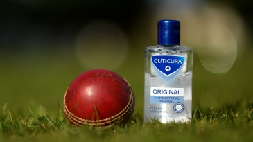 An anti-bacterial hand gel pot next to a cricket ball during a net session at Blagdon Hill Cricket Club