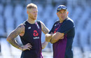 Ben Stokes and Chris Silverwood in discussion, England training, Newlands, January 1, 2020