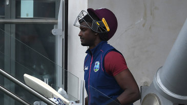 Jason Holder returns to the pavilion after failing again with the bat