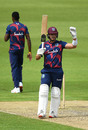 Joshua Da Silva celebrates his hundred, Brathwaite XI v Holder XI, West Indies intra-squad match, Old Trafford, July 1, 2020