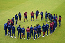 The West Indies team observes a minute's silence in memory of Sir Everton Weekes before the start of play on day four, intra-squad warm-up, Old Trafford, July 02, 2020