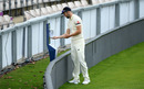 Mark Wood sanitises his hands on the boundary, Stokes v Buttler, day two, Ageas Bowl, July 02, 2020