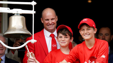 Sir Andrew Strauss and his sons ring the bell at Lord's to mark Ruth Strauss Foundation Day