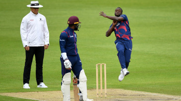 Kemar Roach bowls on the final day of West Indies' warm-up