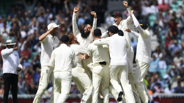 Moeen Ali celebrates after completing his hat trick