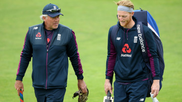 Chris Silverwood chats with stand-in Test captain Ben Stokes