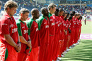 Zimbabwe players observe two minutes' silence before the start of the match, West Indies v Zimbabwe, group stage, 2007 World Cup, Sabina Park, Jamaica, March 19, 2007