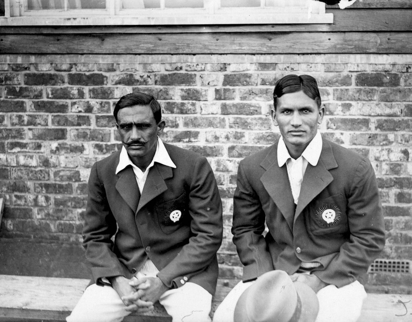 Jahangir Khan (right) represented India in the country's inaugural Test, and his son Majid would go on to captain Pakistan