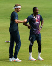 Stuart Broad and Jofra Archer chat in the nets, Ageas Bowl, July 6, 2020
