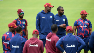 West Indies captain Jason Holder speaks to his team during a nets session at Ageas Bowl