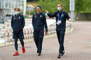 Sam Curran, Dan Lawrence and Stuart Broad walk round the ground, England v West Indies, 1st Test, day 1, Southampton, July 08, 2020
