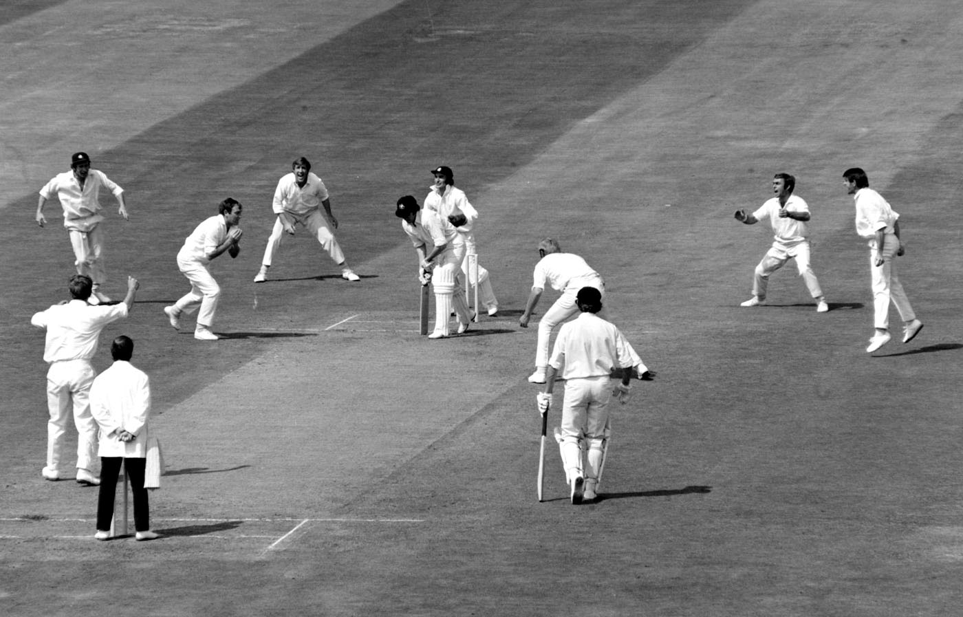 Underwood on his way to 6 for 45, and a ten-wicket match haul, against Australia at Headingley in 1972