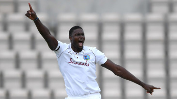 Jason Holder celebrates dismissing Ben Stokes