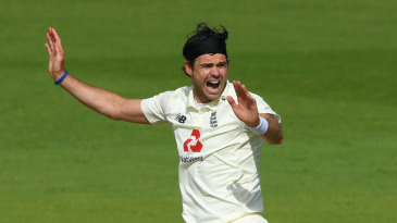James Anderson appeals for the wicket of Roston Chase