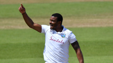 Shannon Gabriel successfully appeals for the wicket of Dom Sibley