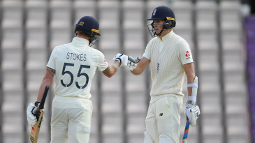 Ben Stokes congratulates Zak Crawley on his half-century
