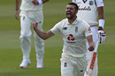 Mark Wood roars in celebration after bowling Shai Hope, England v West Indies, 1st Test, 5th day, Southampton, July 12, 2020