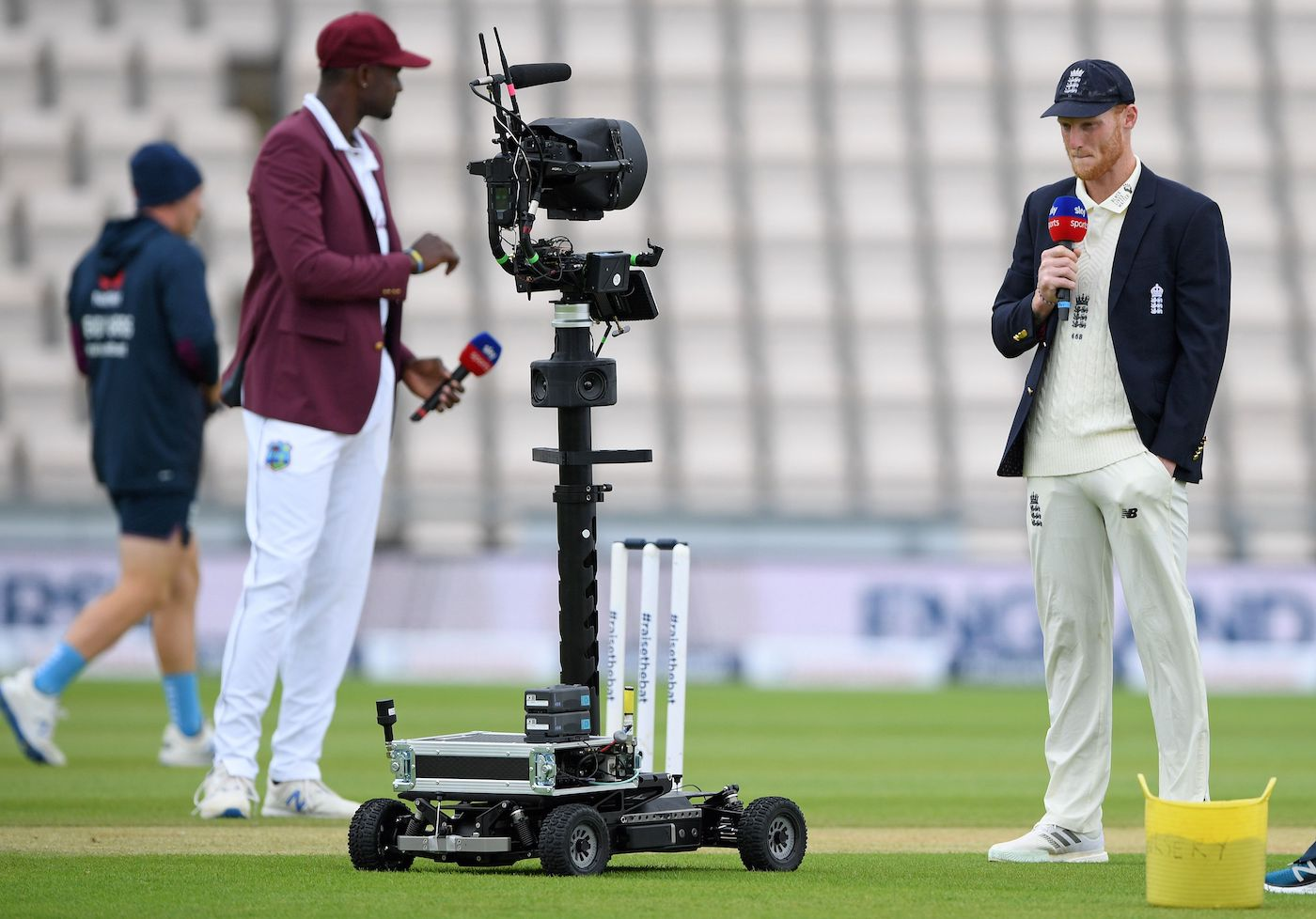 Jason Holder and Ben Stokes talk to the TV commentators through a remotely operated camera
