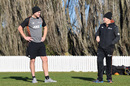 Batting coach Peter Fulton and head coach Gary Stead have a chat in the nets, Lincoln, July 14, 2020